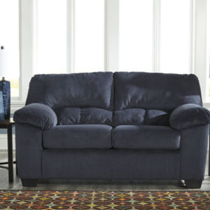 Contemporary Midnight Padded MIcrofiber Loveseat