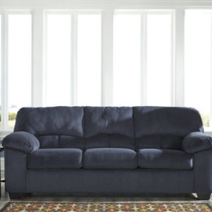 Contemporary Midnight Padded Microfiber Sofa