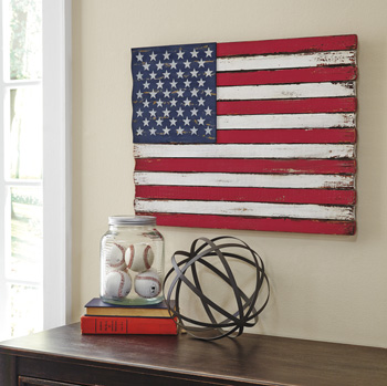 Wooden American Flag Wall Art Diamond Furniture Premier