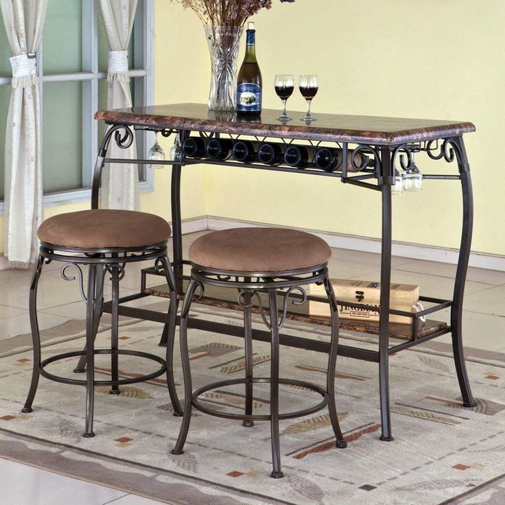 Faux Marble Bar With Stools Diamond Furniture Premier