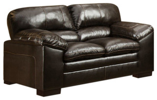 Casual Brown Faux Leather Loveseat Diamond Furniture Premier